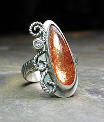 Sterling silver and Sunstone artisan ring - Fire Dance - SOLD