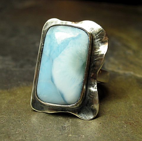Artisan Ring in Sterling Silver and Larimar - Heavenly Blue - Sold