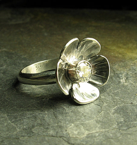Artisan sterling silver ring with Moissanite - Ice Flower
