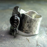 Sterling Silver Poppy Ring with Black Star Diopside - Night Poppy