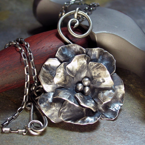 Sterling Silver Rose Pendant - Old World Rose