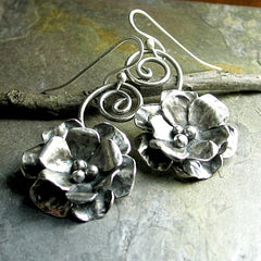 Sterling Silver Rose Earrings - Old World Rose