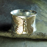 Sterling Silver Butterfly Ring - On Golden Wings