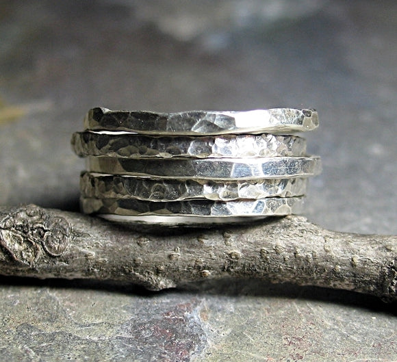 Hammered Sterling Silver Stackable Rings - Organic Skinnies