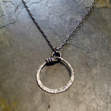 Sterling Silver Circle Pendant - Pebble Road Wrapped Oh