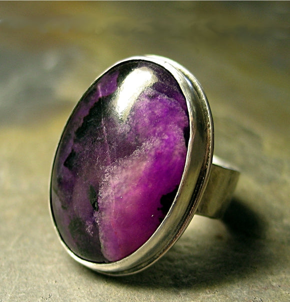 Artisan Ring in Sterling Silver and Sugilite - Plum Rustica