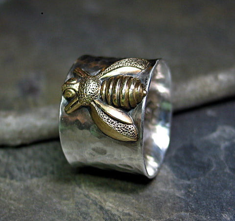 Bee Ring Wide Band Sterling Silver - Queen of Bees