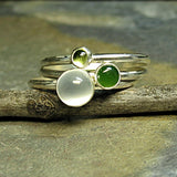 Stacking rings, Sterling Silver with Jade, Peridot, Moonstone - Rain Forest