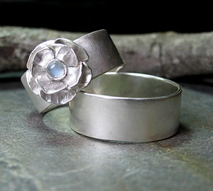 Rose Wedding Set in Brushed Sterling