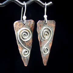 Hammered Copper Earrings - Rustic Romance