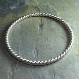Thick sterling bangle - Silver Twist