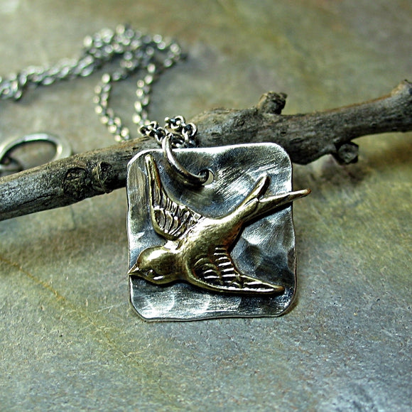 Bird Pendant in Sterling Silver - Soaring Free