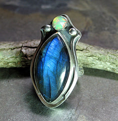 Sterling Silver Artisan Ring with Labradorite and Ethiopian Opal - Inner Light