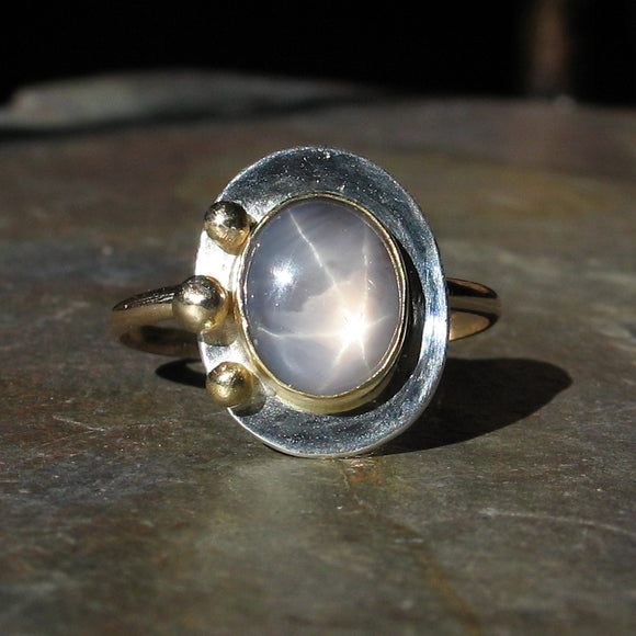 Natural Star Sapphire Artisan Ring - Stars in the Mist - SOLD