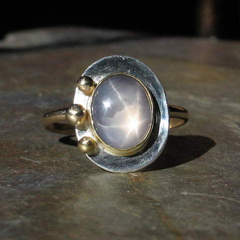 Natural Star Sapphire Artisan Ring - Stars in the Mist