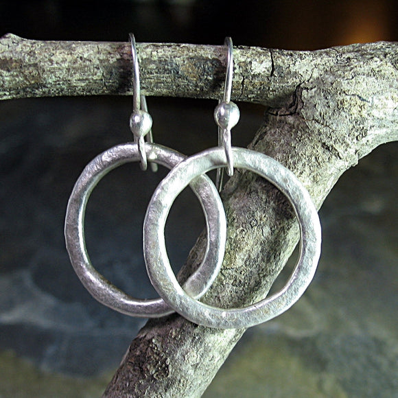 Rustic Hoop Earrings in Textured Fine Silver - Summerlight Hoops