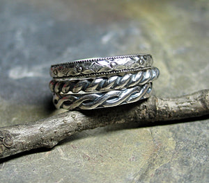 Patterned Sterling Silver Stacking Rings - Three's Company