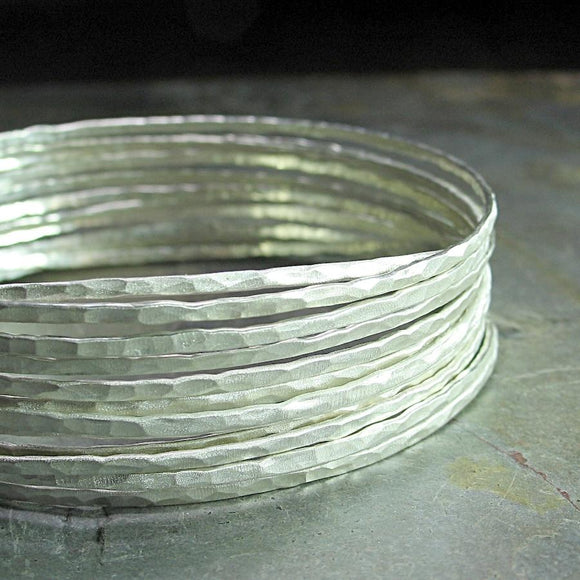 Skinny Bangles in Hammered Sterling Silver - WHITE SATIN NIGHTS