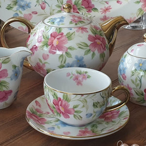Dankotuwa Pink Garden 11pcs Tea Set