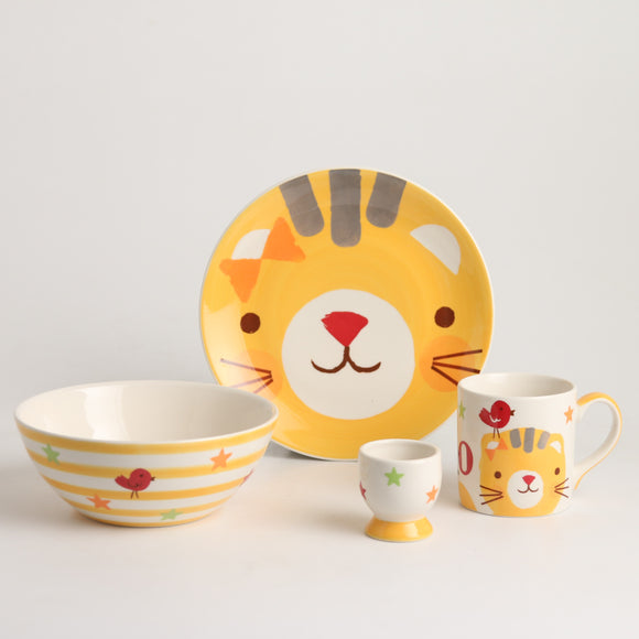 Royalclub 4 Piece Gladly Cat Kid's Breakfast Set