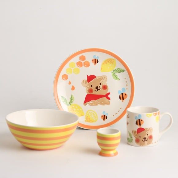 Royalclub 4 Piece Happy Bee Kid's Breakfast Set
