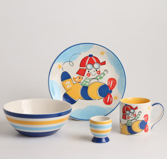 Royalclub 4 Piece Little Pilot Kid's Breakfast Set