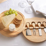 Royalclub Round folding cheese board set with 4 knifes