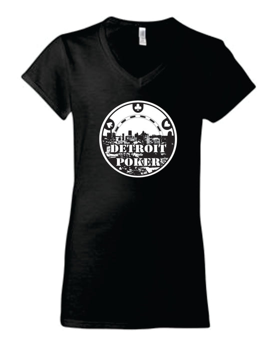 Detroit Poker Ladies V-neck T-shirt (black)
