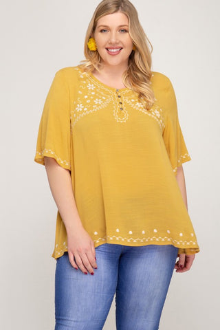 Plus Size Half Sleeve Embroidered Top-Sunflower