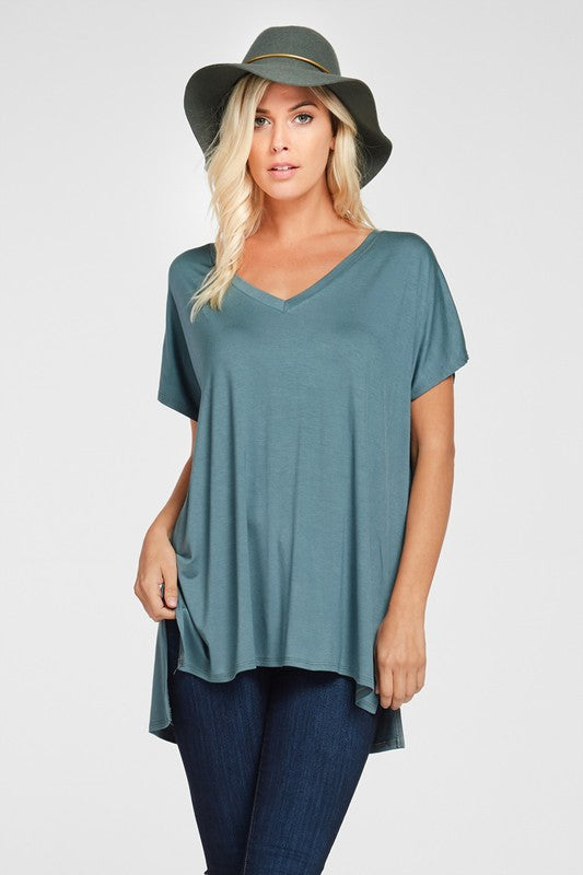 Plus Size Solid V-Neck Tunic - Teal Aqua