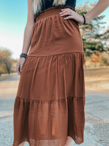 Rust Tiered Midi Skirt