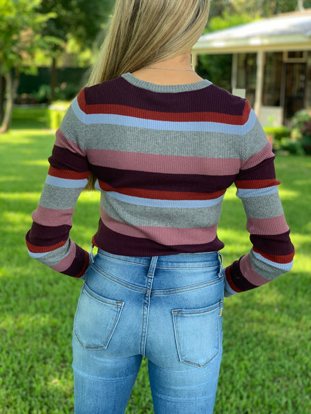 Eva Striped Long Sleeve Top