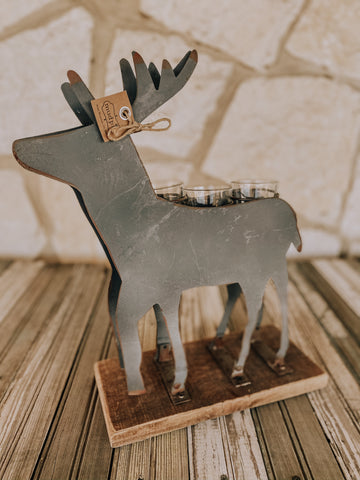 Christmas Decor- Tin Deer Candle Holder
