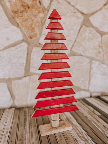 Christmas Tree Decor- Red Wood Plank Tree