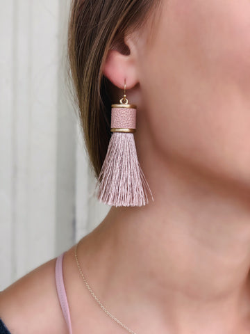 Hay's Tassel Earrings- Blush