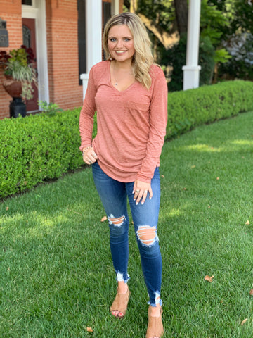 Long Sleeve Burnout Tee- All Colors