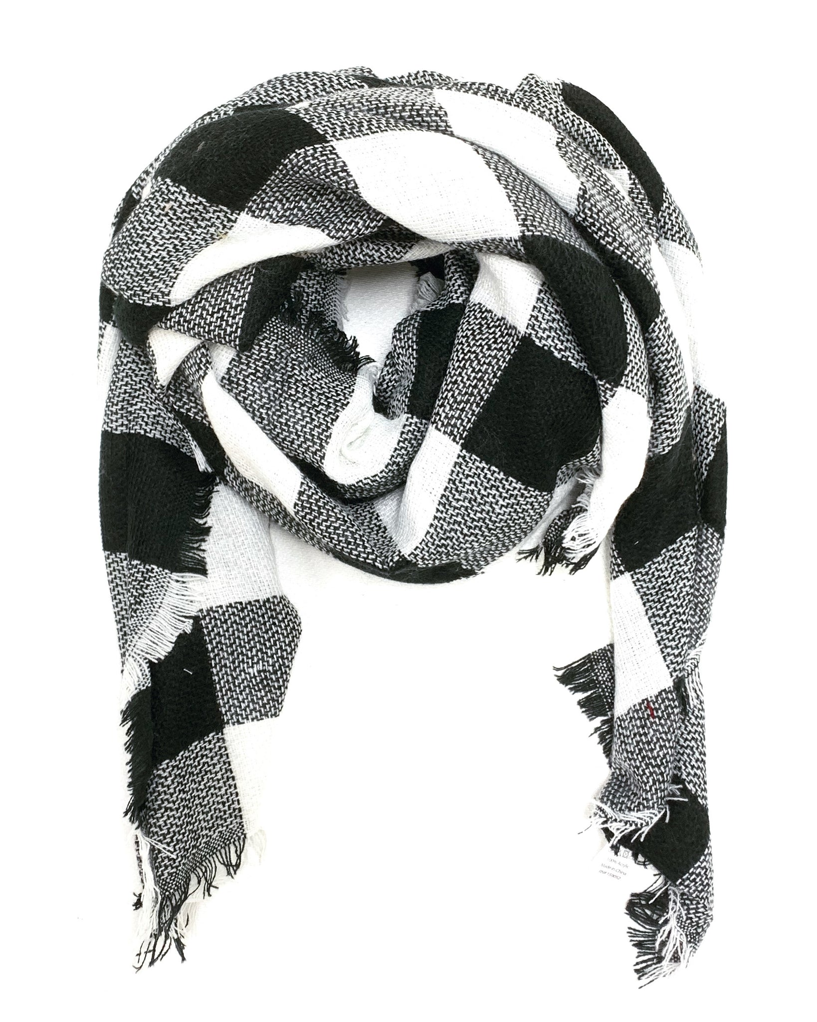 Buffalo Plaid Blanket Scarf- Black
