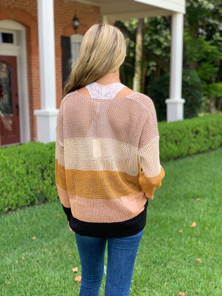 Colorblock Mesh Sweater
