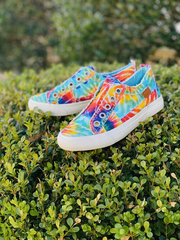 Kid's Blowfish Sneakers- Rainbow Tie Dye