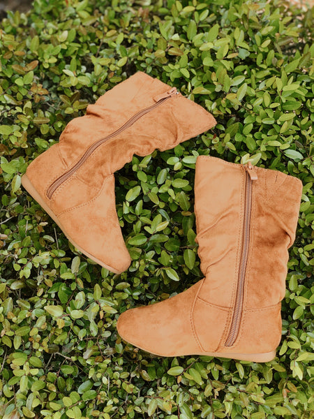 Kids Ellie Suede Boots-Tan