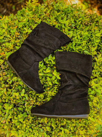 Kids Ellie Suede Boots-Black