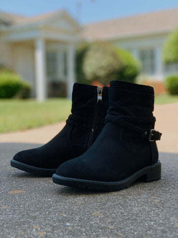 Kids Eleanor Suede Booties-Black