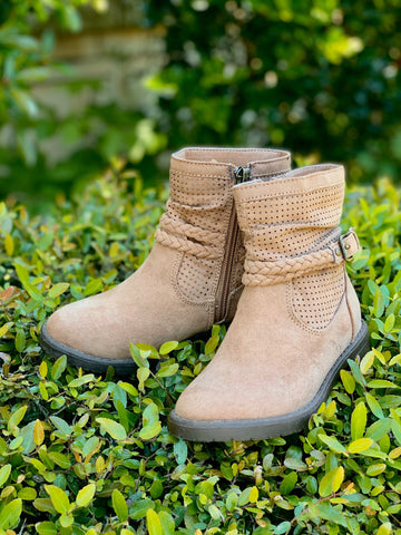 Kids Eleanor Suede Booties-Tan