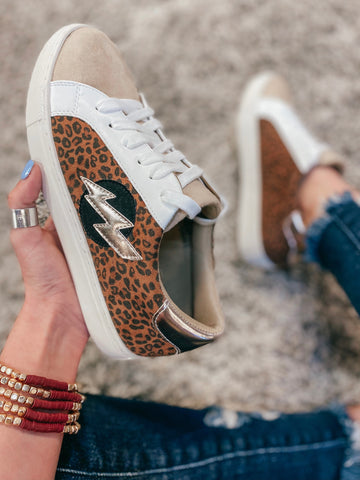 Leopard Bolt Sneakers