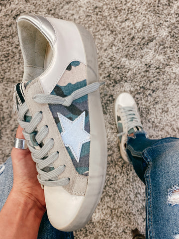 Blue Camo Star Sneakers