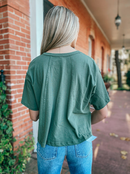 Button Front Tee- Moss