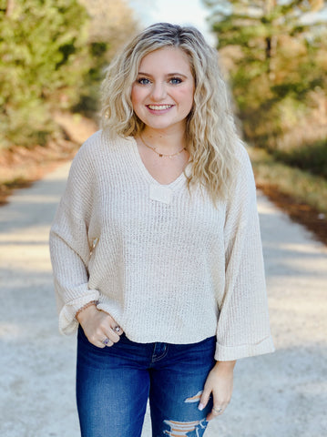 Boho Ivory Knit Sweater