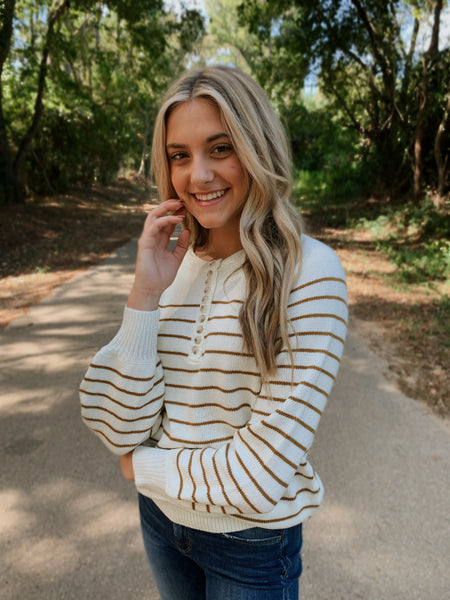 Striped Button Sweater