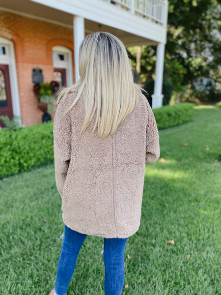 Classic Sherpa Coat- Coffee