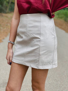 Vegas Leather Skirt-Taupe
